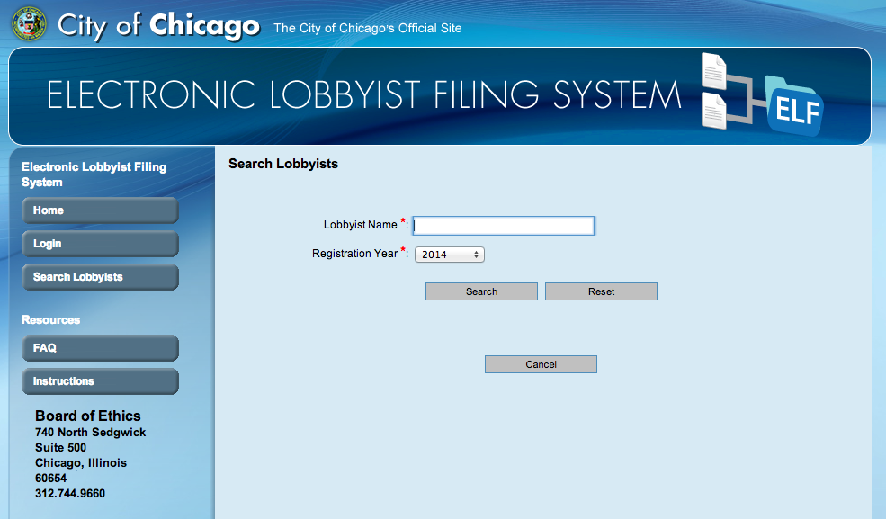 Chicago's Electronic Lobbyist Filing (ELF) System