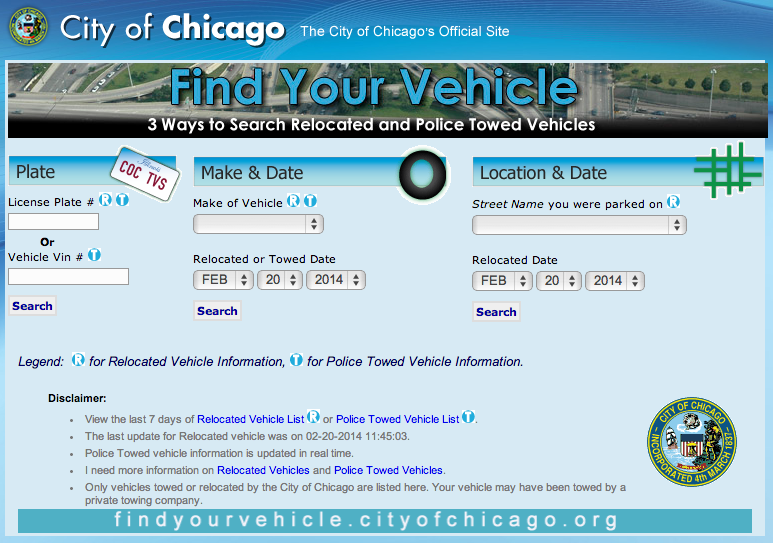 Find Your Vehicle on the City of Chicago website