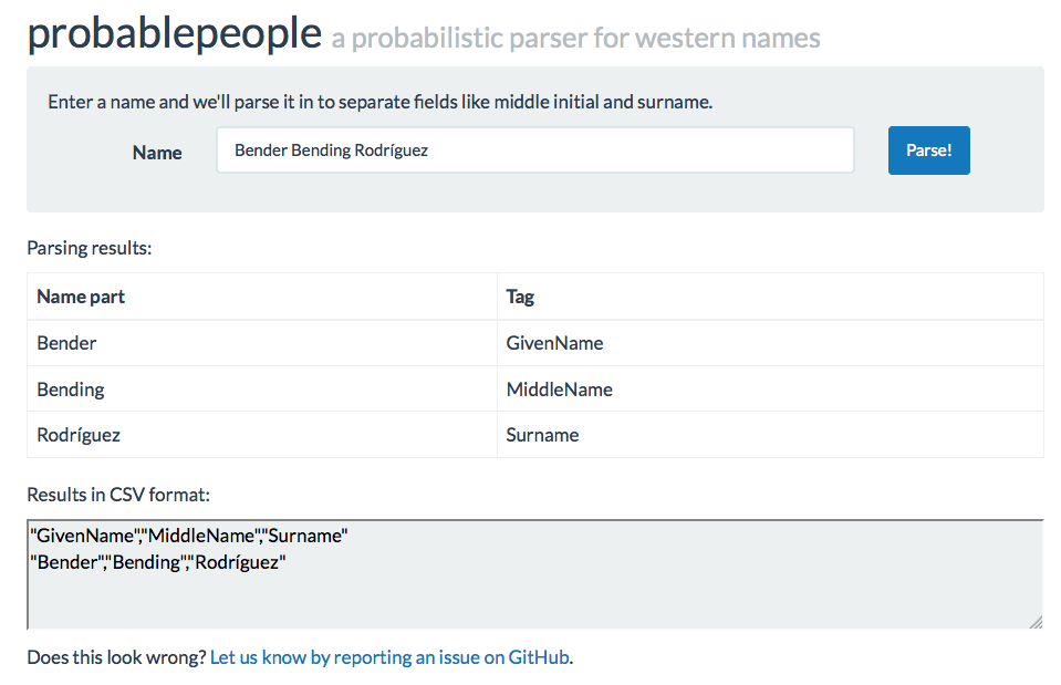 Parse names and parse ... anything, really