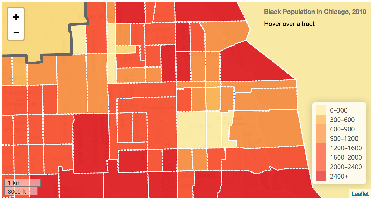 A screenshot of Jay's maps of 2010 Black population in Chicago