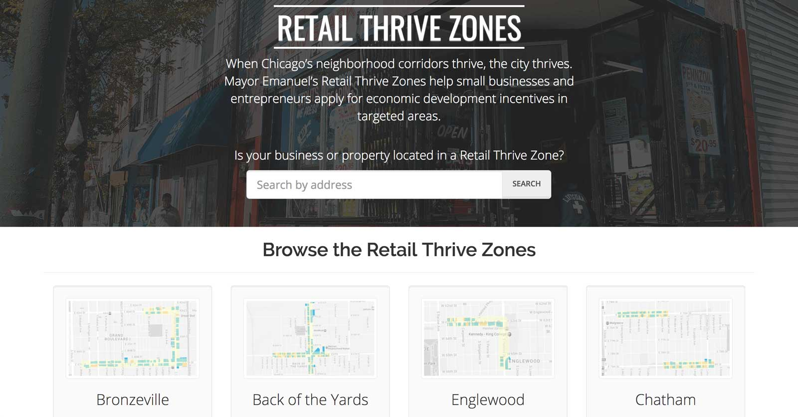 Retail Thrive Zones homepage